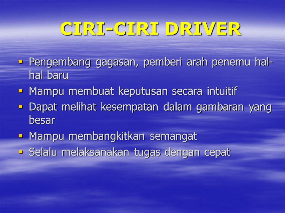 CIRI-CIRI DRIVER  Pengembang gagasan, pemberi arah penemu hal- hal baru  Mampu membuat keputusan secara intuitif  Dapat melihat kesempatan dalam ga