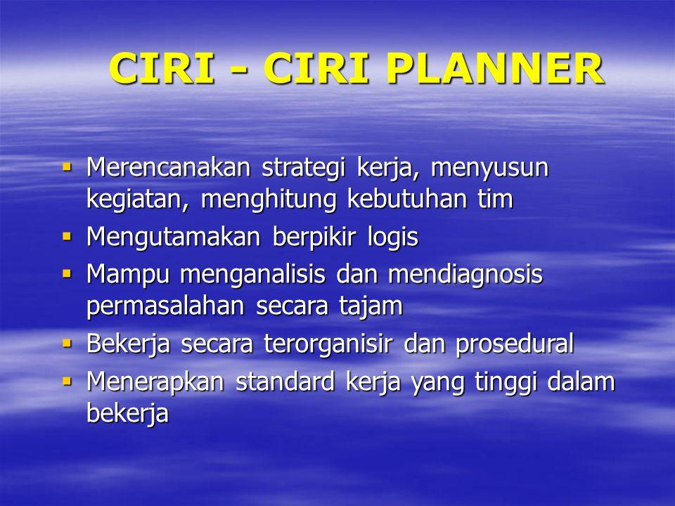 CIRI - CIRI PLANNER  Merencanakan strategi kerja, menyusun kegiatan, menghitung kebutuhan tim  Mengutamakan berpikir logis  Mampu menganalisis dan mendiagnosis permasalahan secara tajam  Bekerja secara terorganisir dan prosedural  Menerapkan standard kerja yang tinggi dalam bekerja