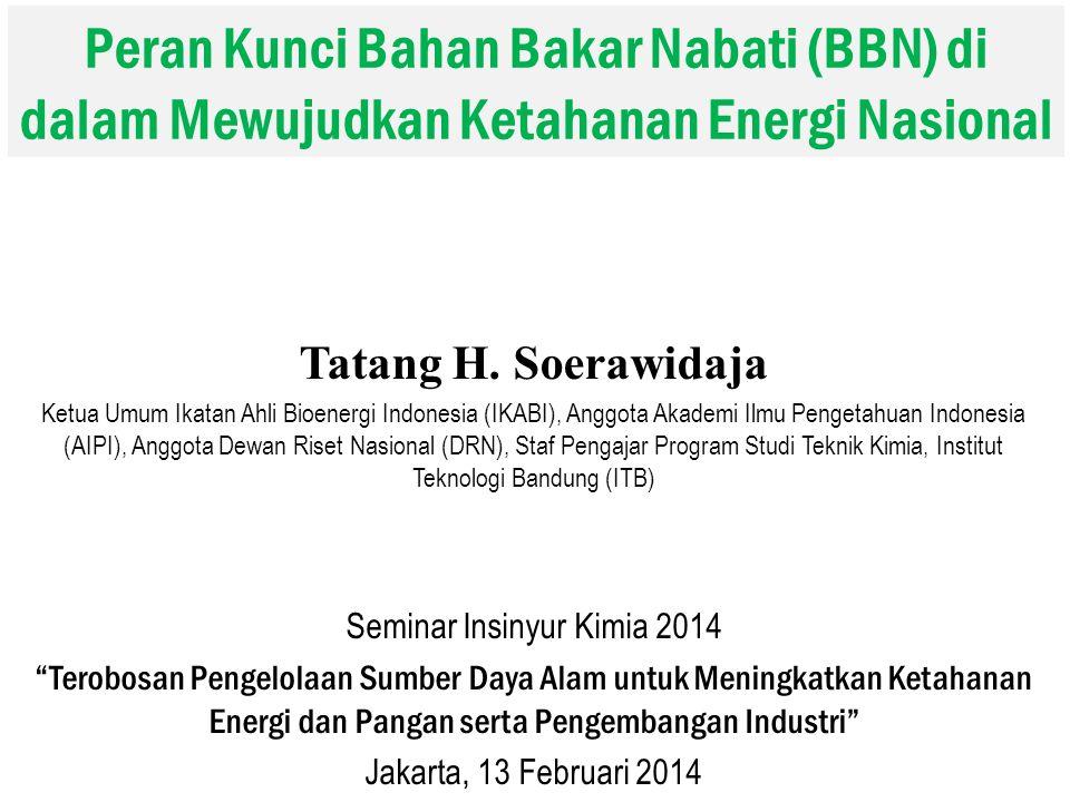 Peran Kunci Bahan Bakar Nabati (BBN) di dalam Mewujudkan Ketahanan Energi Nasional Tatang H. Soerawidaja Ketua Umum Ikatan Ahli Bioenergi Indonesia (I