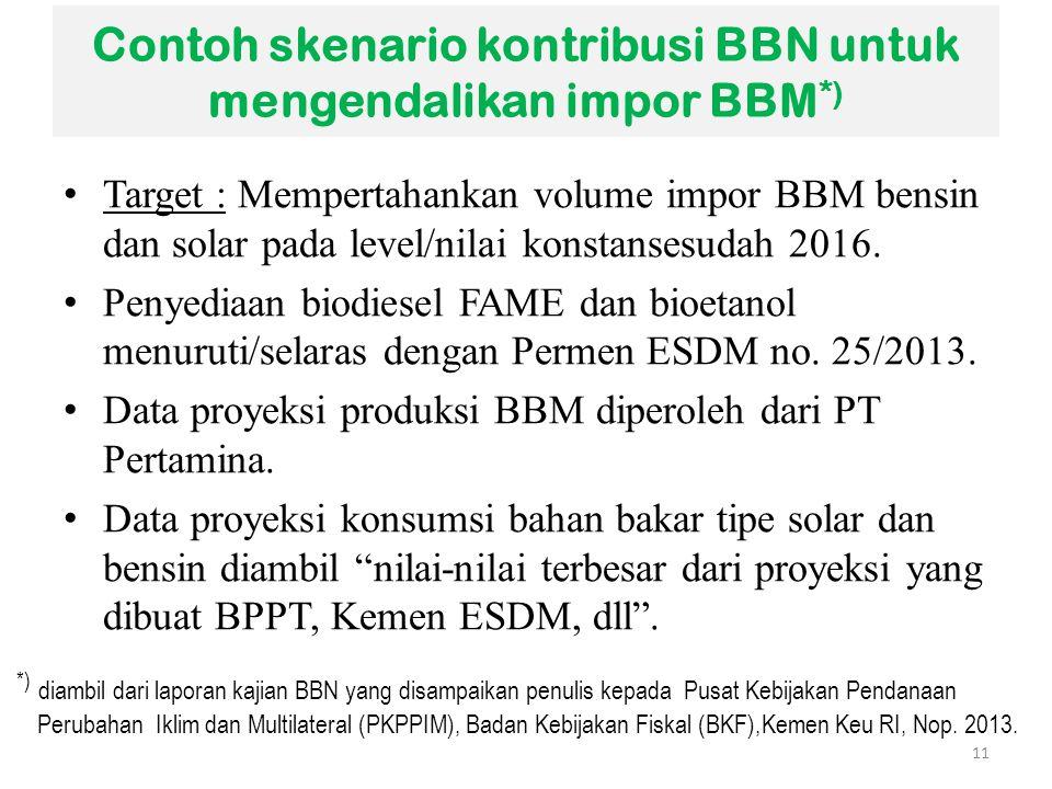 Contoh skenario kontribusi BBN untuk mengendalikan impor BBM *) Target : Mempertahankan volume impor BBM bensin dan solar pada level/nilai konstansesu