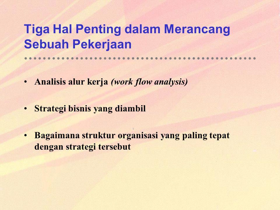 Tiga Hal Penting dalam Merancang Sebuah Pekerjaan Analisis alur kerja (work flow analysis) Strategi bisnis yang diambil Bagaimana struktur organisasi