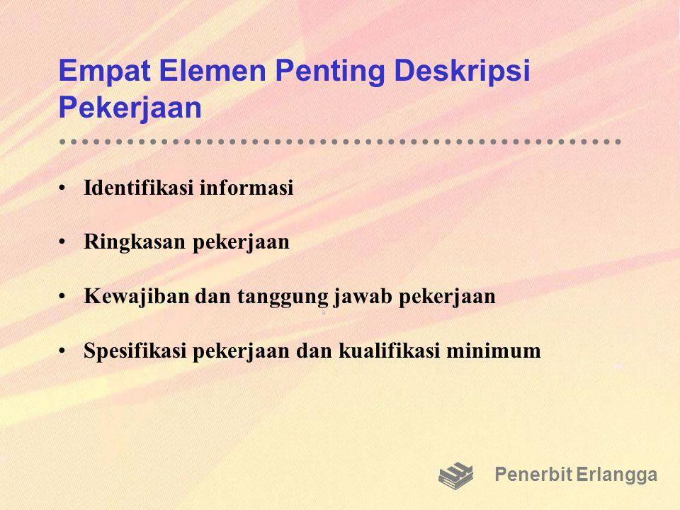 Empat Elemen Penting Deskripsi Pekerjaan Identifikasi informasi Ringkasan pekerjaan Kewajiban dan tanggung jawab pekerjaan Spesifikasi pekerjaan dan k