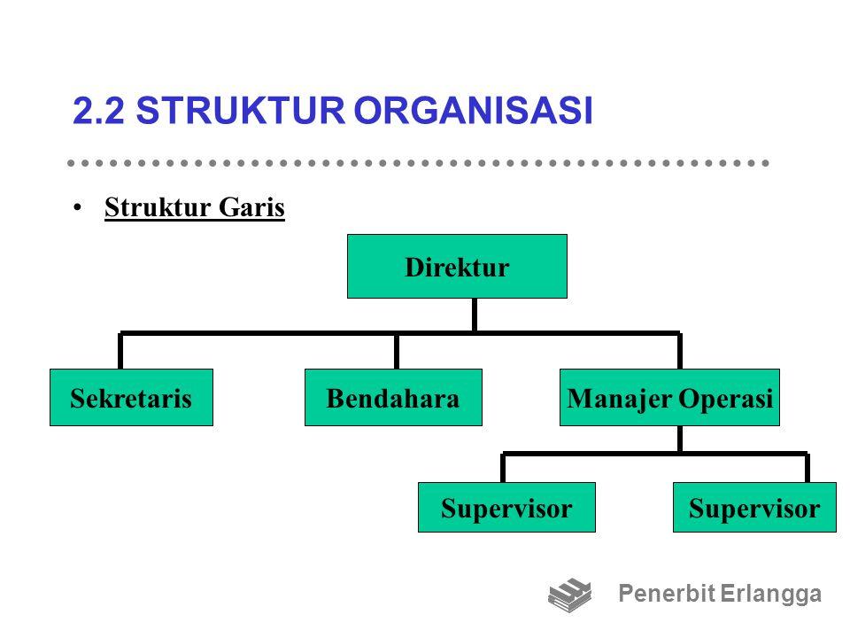 2.2 STRUKTUR ORGANISASI Struktur Garis Penerbit Erlangga Direktur SekretarisBendaharaManajer Operasi Supervisor
