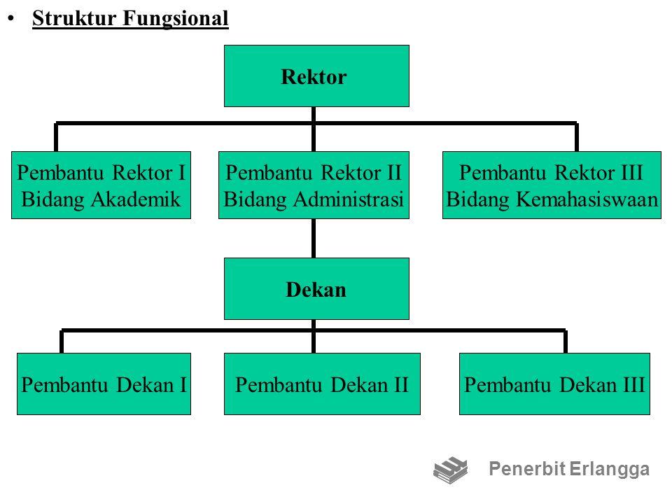 Struktur Fungsional Penerbit Erlangga Rektor Pembantu Rektor II Bidang Administrasi Dekan Pembantu Dekan IIPembantu Dekan IPembantu Dekan III Pembantu