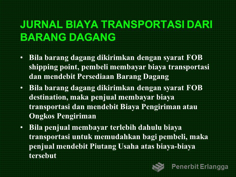JURNAL BIAYA TRANSPORTASI DARI BARANG DAGANG Bila barang dagang dikirimkan dengan syarat FOB shipping point, pembeli membayar biaya transportasi dan m