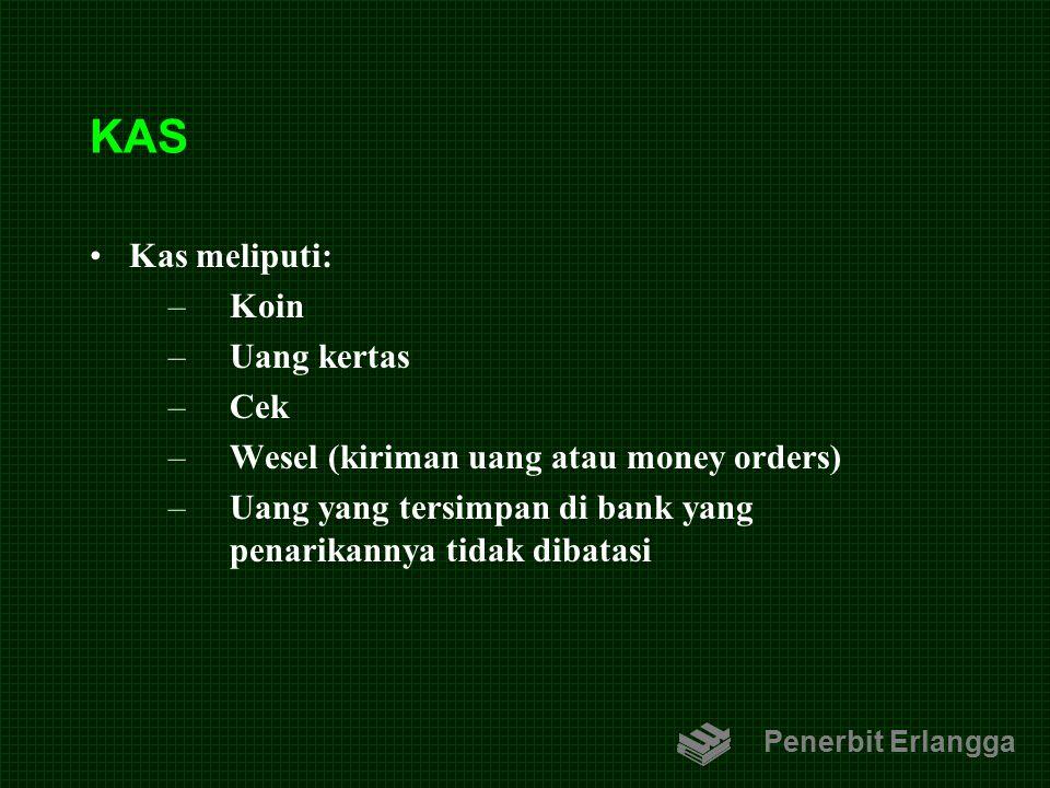 KAS Kas meliputi: –Koin –Uang kertas –Cek –Wesel (kiriman uang atau money orders) –Uang yang tersimpan di bank yang penarikannya tidak dibatasi Penerb