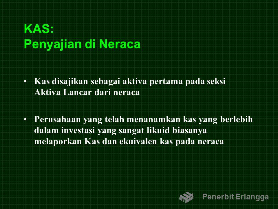 KAS: Penyajian di Neraca Kas disajikan sebagai aktiva pertama pada seksi Aktiva Lancar dari neraca Perusahaan yang telah menanamkan kas yang berlebih