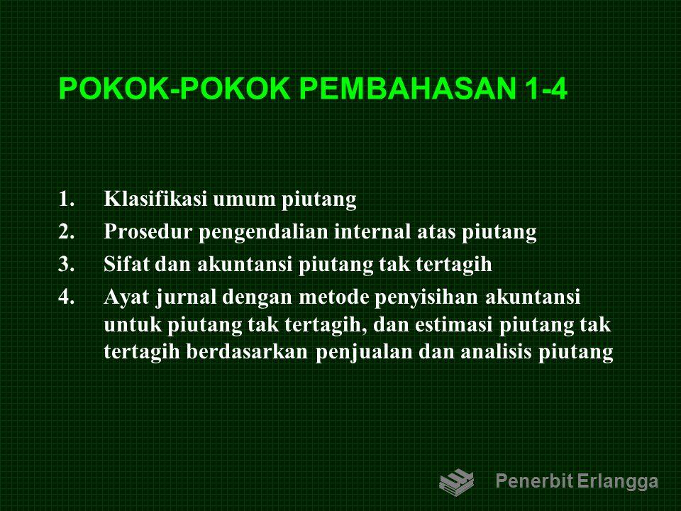 POKOK-POKOK PEMBAHASAN 1-4 1.Klasifikasi umum piutang 2.Prosedur pengendalian internal atas piutang 3.Sifat dan akuntansi piutang tak tertagih 4.Ayat