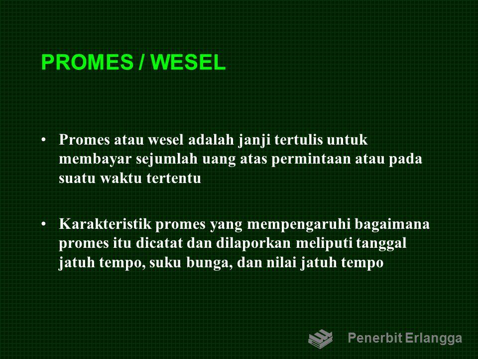 PROMES / WESEL Promes atau wesel adalah janji tertulis untuk membayar sejumlah uang atas permintaan atau pada suatu waktu tertentu Karakteristik prome