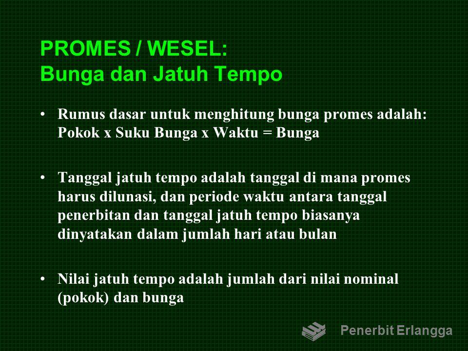 PROMES / WESEL: Bunga dan Jatuh Tempo Rumus dasar untuk menghitung bunga promes adalah: Pokok x Suku Bunga x Waktu = Bunga Tanggal jatuh tempo adalah