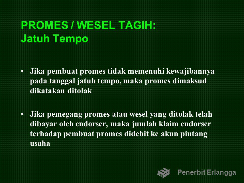 PROMES / WESEL TAGIH: Jatuh Tempo Jika pembuat promes tidak memenuhi kewajibannya pada tanggal jatuh tempo, maka promes dimaksud dikatakan ditolak Jik