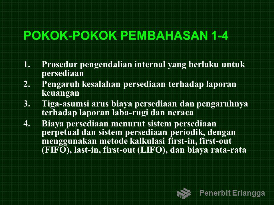 POKOK-POKOK PEMBAHASAN 1-4 1.Prosedur pengendalian internal yang berlaku untuk persediaan 2.Pengaruh kesalahan persediaan terhadap laporan keuangan 3.