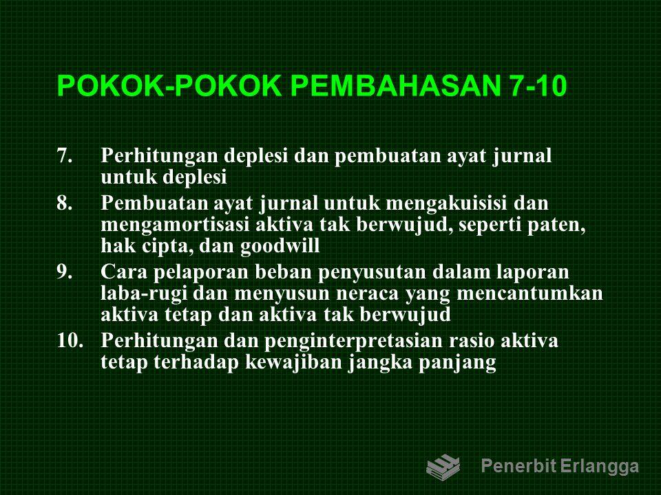 POKOK-POKOK PEMBAHASAN 7-10 7.Perhitungan deplesi dan pembuatan ayat jurnal untuk deplesi 8.Pembuatan ayat jurnal untuk mengakuisisi dan mengamortisas