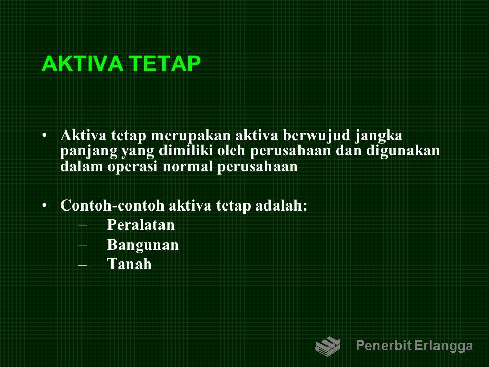 AKTIVA TETAP Aktiva tetap merupakan aktiva berwujud jangka panjang yang dimiliki oleh perusahaan dan digunakan dalam operasi normal perusahaan Contoh-