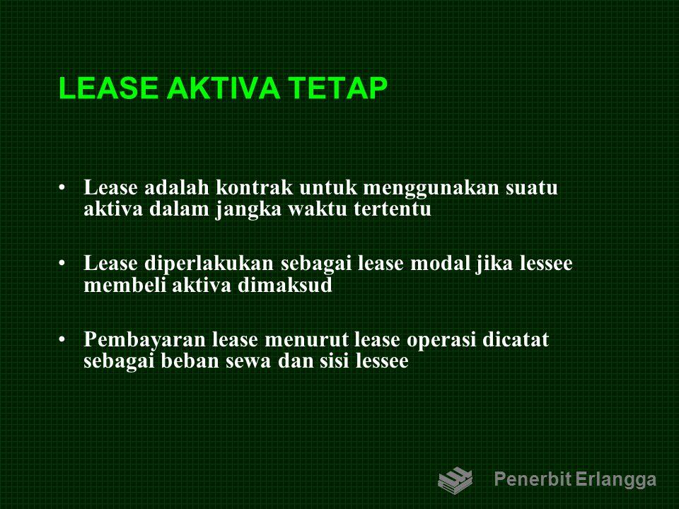 LEASE AKTIVA TETAP Lease adalah kontrak untuk menggunakan suatu aktiva dalam jangka waktu tertentu Lease diperlakukan sebagai lease modal jika lessee