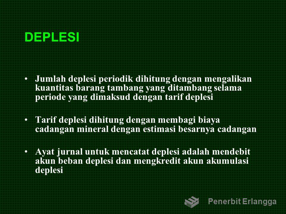 DEPLESI Jumlah deplesi periodik dihitung dengan mengalikan kuantitas barang tambang yang ditambang selama periode yang dimaksud dengan tarif deplesi T
