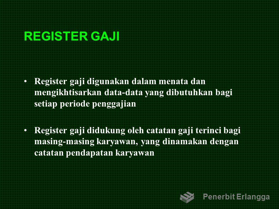 REGISTER GAJI Register gaji digunakan dalam menata dan mengikhtisarkan data-data yang dibutuhkan bagi setiap periode penggajian Register gaji didukung