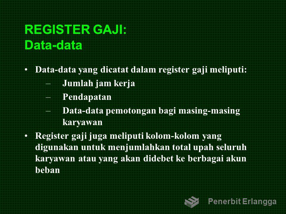 REGISTER GAJI: Data-data Data-data yang dicatat dalam register gaji meliputi: –Jumlah jam kerja –Pendapatan –Data-data pemotongan bagi masing-masing k
