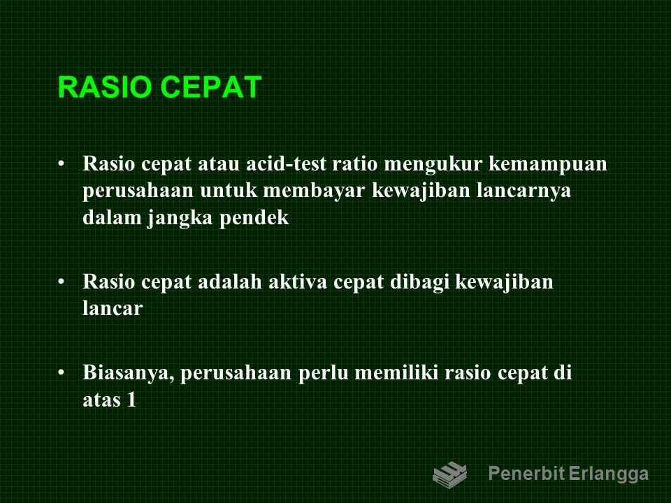 RASIO CEPAT Rasio cepat atau acid-test ratio mengukur kemampuan perusahaan untuk membayar kewajiban lancarnya dalam jangka pendek Rasio cepat adalah a