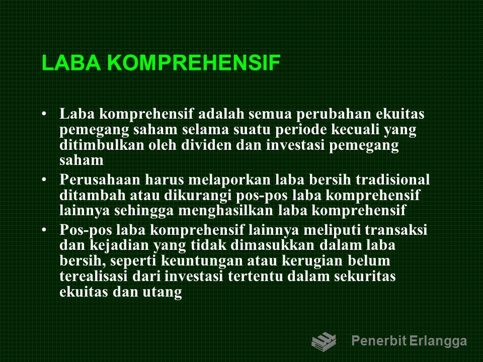 LABA KOMPREHENSIF Laba komprehensif adalah semua perubahan ekuitas pemegang saham selama suatu periode kecuali yang ditimbulkan oleh dividen dan inves