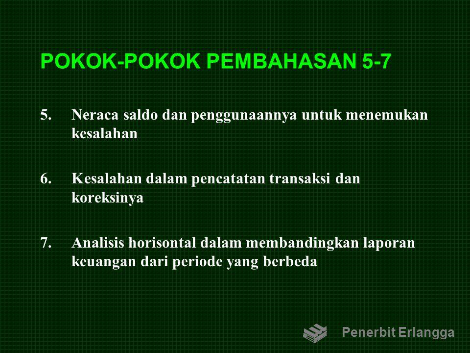 POKOK-POKOK PEMBAHASAN 5-7 5.Neraca saldo dan penggunaannya untuk menemukan kesalahan 6.Kesalahan dalam pencatatan transaksi dan koreksinya 7.Analisis