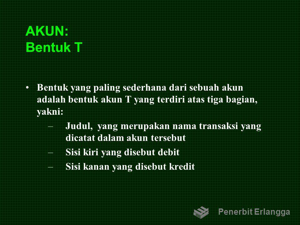 AKUN: Bentuk T Bentuk yang paling sederhana dari sebuah akun adalah bentuk akun T yang terdiri atas tiga bagian, yakni: –Judul, yang merupakan nama tr