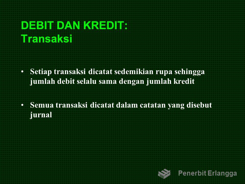 DEBIT DAN KREDIT: Transaksi Setiap transaksi dicatat sedemikian rupa sehingga jumlah debit selalu sama dengan jumlah kredit Semua transaksi dicatat da