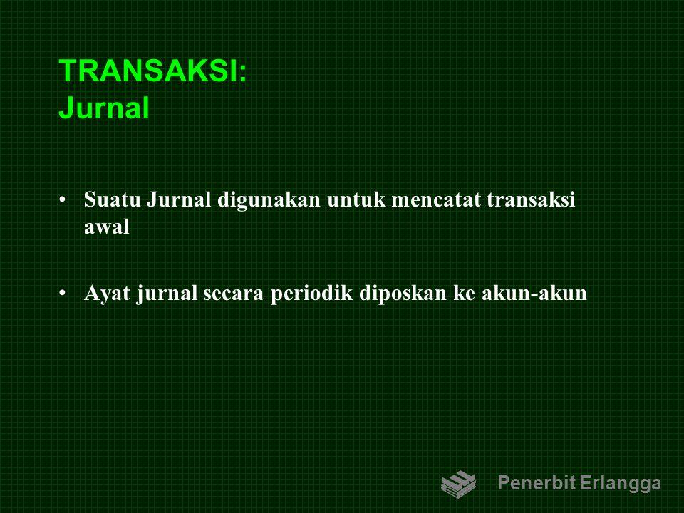 TRANSAKSI: Jurnal Suatu Jurnal digunakan untuk mencatat transaksi awal Ayat jurnal secara periodik diposkan ke akun-akun Penerbit Erlangga