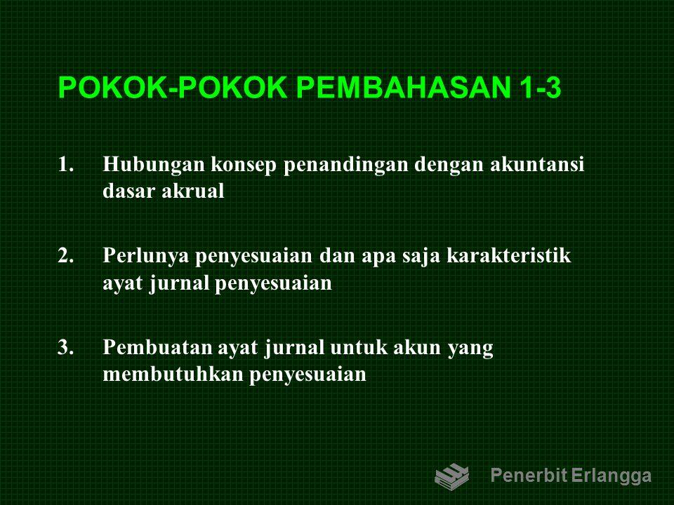 POKOK-POKOK PEMBAHASAN 1-3 1.Hubungan konsep penandingan dengan akuntansi dasar akrual 2.Perlunya penyesuaian dan apa saja karakteristik ayat jurnal p