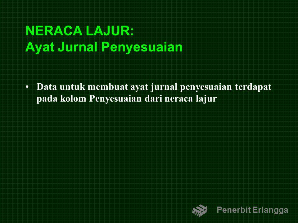 NERACA LAJUR: Ayat Jurnal Penyesuaian Data untuk membuat ayat jurnal penyesuaian terdapat pada kolom Penyesuaian dari neraca lajur Penerbit Erlangga