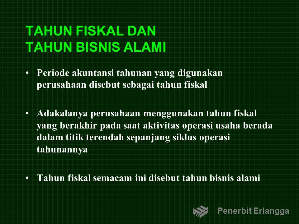 TAHUN FISKAL DAN TAHUN BISNIS ALAMI Periode akuntansi tahunan yang digunakan perusahaan disebut sebagai tahun fiskal Adakalanya perusahaan menggunakan