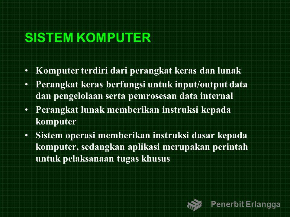 SISTEM KOMPUTER Komputer terdiri dari perangkat keras dan lunak Perangkat keras berfungsi untuk input/output data dan pengelolaan serta pemrosesan dat