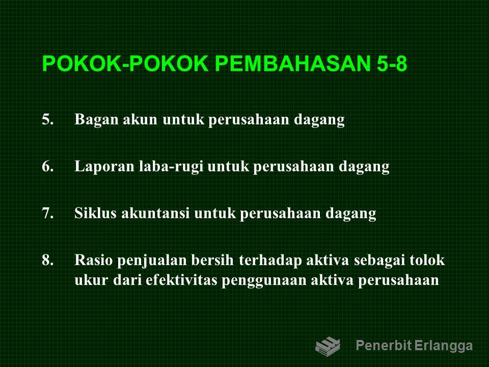 POKOK-POKOK PEMBAHASAN 5-8 5.Bagan akun untuk perusahaan dagang 6.Laporan laba-rugi untuk perusahaan dagang 7.Siklus akuntansi untuk perusahaan dagang