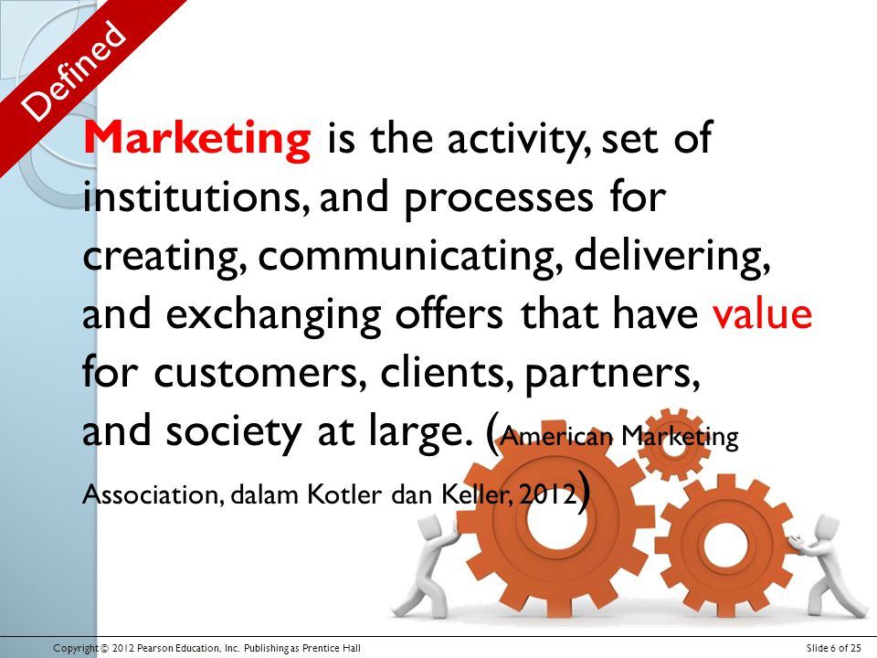 Defined Copyright © 2012 Pearson Education, Inc. Publishing as Prentice HallSlide 6 of 25 Marketing is the activity, set of institutions, and processe