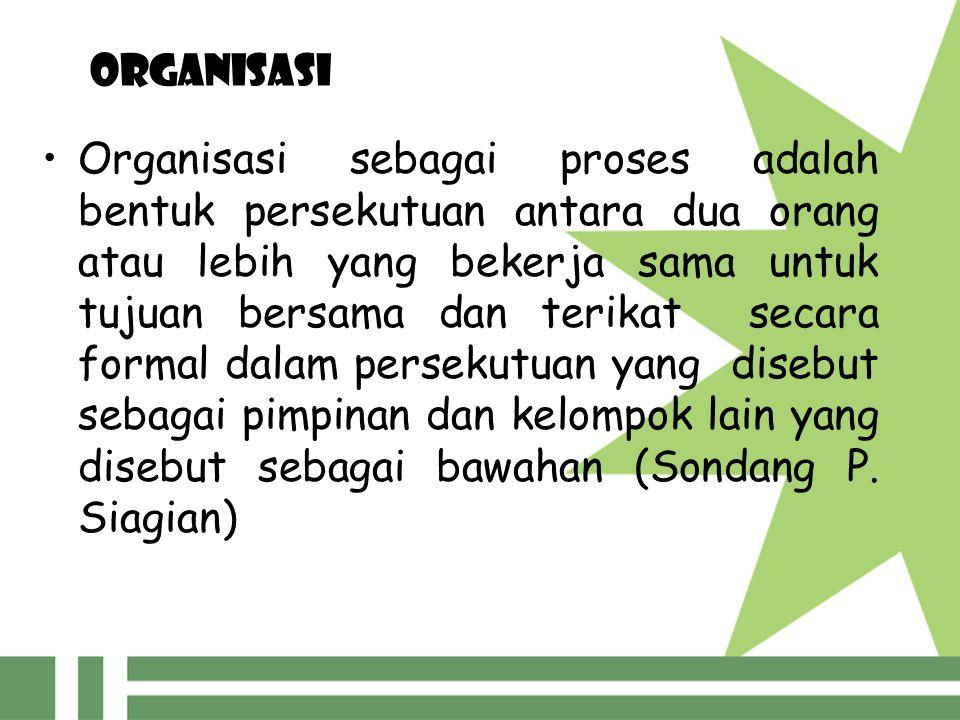 organisasi Organisasi sebagai proses adalah bentuk persekutuan antara dua orang atau lebih yang bekerja sama untuk tujuan bersama dan terikat secara f