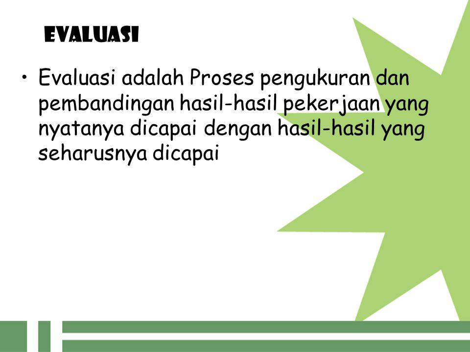 EVALUASI Evaluasi merupakan salah satu langkah pengawasan, yakni proses pengamatan pelaksanaan seluruh kegiatan organisasi untuk menjamin agar semua pekerjaan yang sedang dilakukan berjalan sesuai dengan rencana yang telah ditentukan sebelumnya (Sondang P.