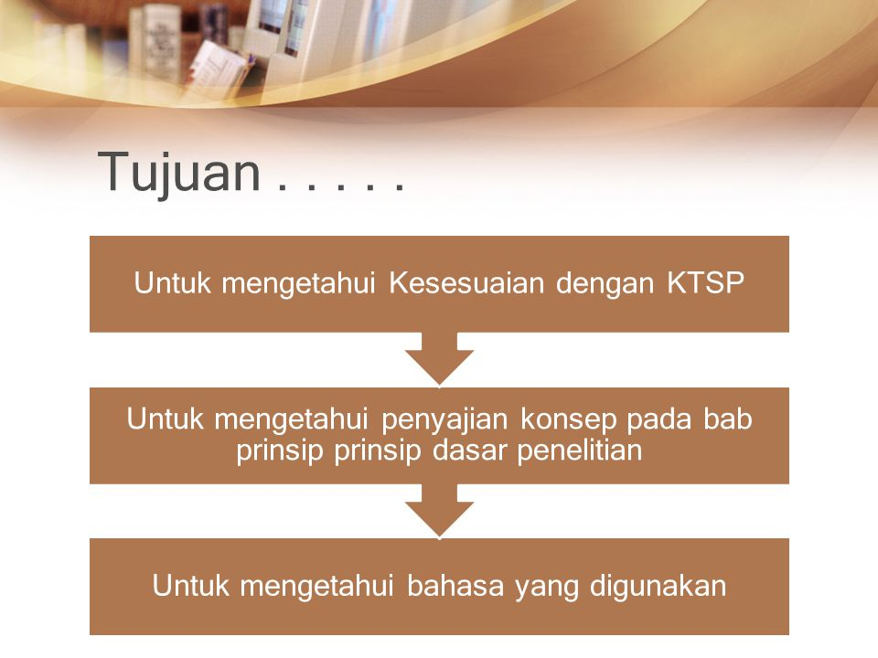Tujuan..... Untuk mengetahui bahasa yang digunakan Untuk mengetahui penyajian konsep pada bab prinsip prinsip dasar penelitian Untuk mengetahui Kesesu