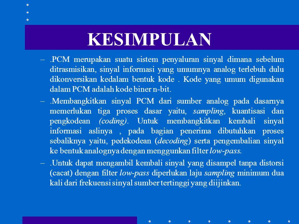 Pengkodean Dalam sistem PCM, sinyal PAM yang terkuantisasi dan sebelum ditransmisikan terlebih dahulu dikode kedalam kode n-bit. Setiap sinyal sampel