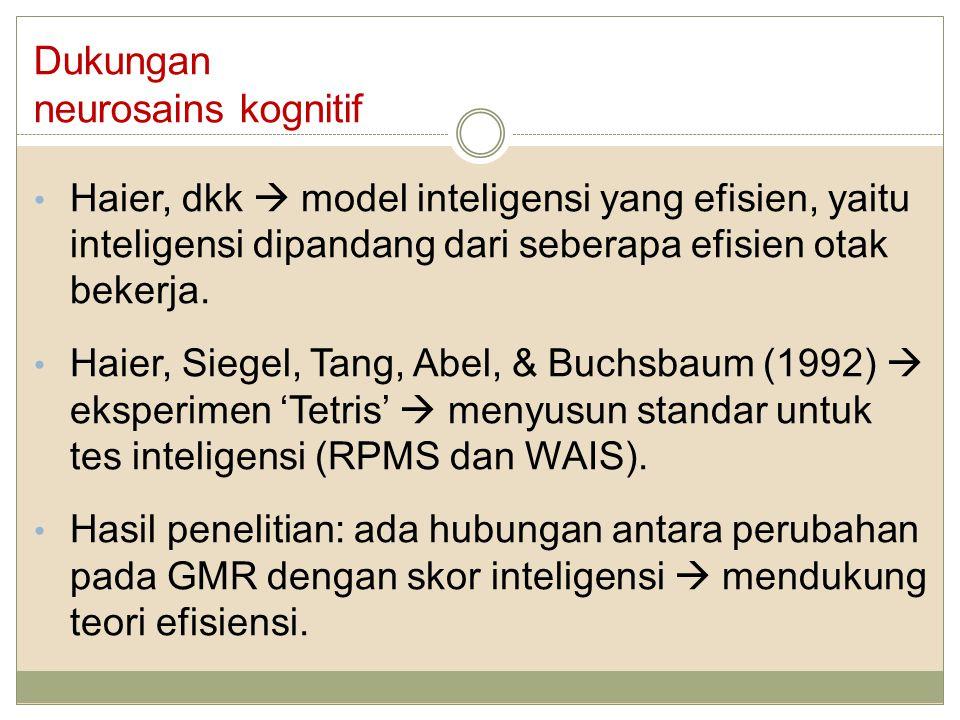 Dukungan neurosains kognitif Haier, dkk  model inteligensi yang efisien, yaitu inteligensi dipandang dari seberapa efisien otak bekerja. Haier, Siege