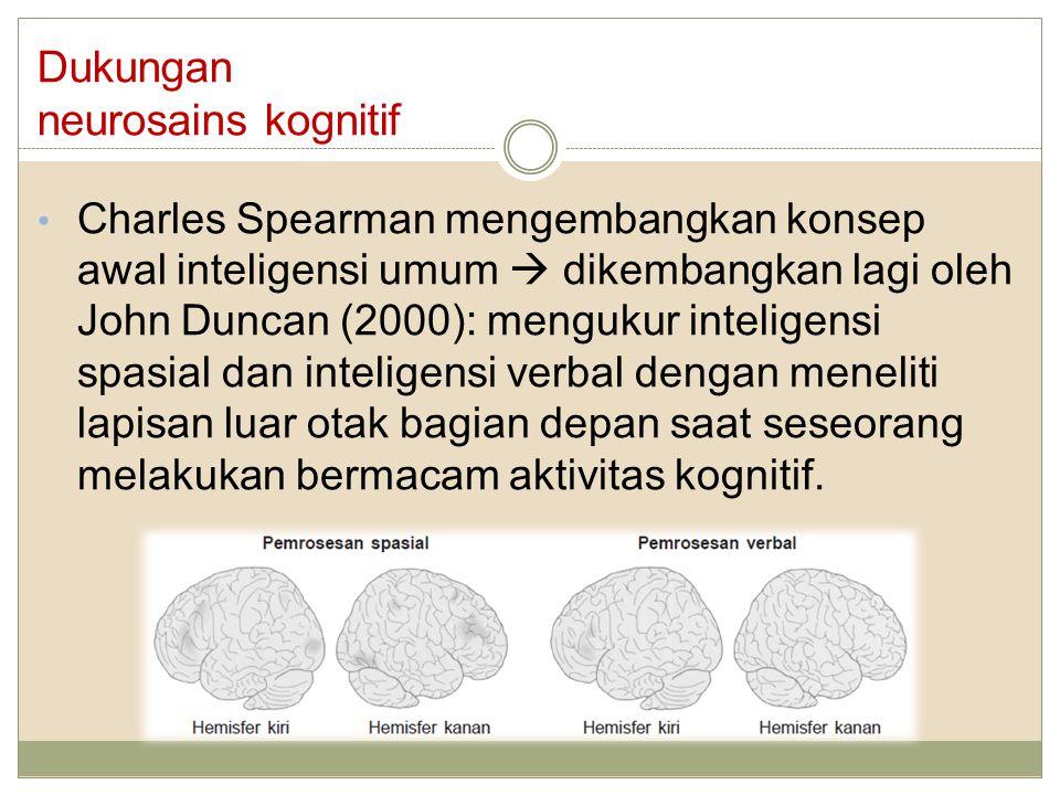 Dukungan neurosains kognitif Charles Spearman mengembangkan konsep awal inteligensi umum  dikembangkan lagi oleh John Duncan (2000): mengukur intelig