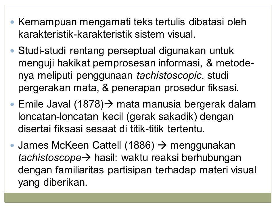 Kemampuan mengamati teks tertulis dibatasi oleh karakteristik-karakteristik sistem visual. Studi-studi rentang perseptual digunakan untuk menguji haki