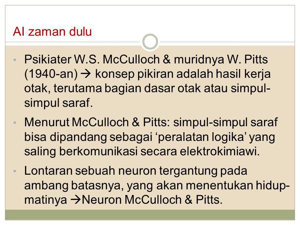 AI zaman dulu Psikiater W.S. McCulloch & muridnya W. Pitts (1940-an)  konsep pikiran adalah hasil kerja otak, terutama bagian dasar otak atau simpul-