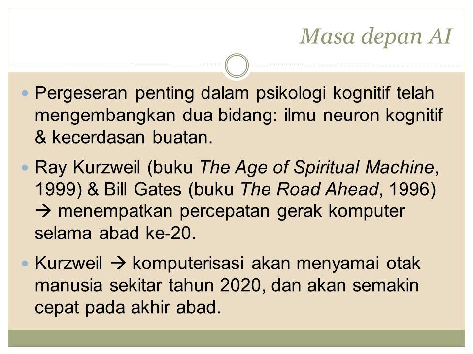 Masa depan AI Pergeseran penting dalam psikologi kognitif telah mengembangkan dua bidang: ilmu neuron kognitif & kecerdasan buatan. Ray Kurzweil (buku