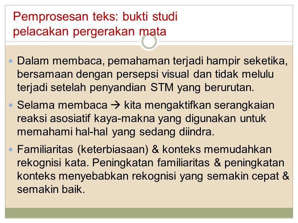 Dalam membaca, pemahaman terjadi hampir seketika, bersamaan dengan persepsi visual dan tidak melulu terjadi setelah penyandian STM yang berurutan. Sel