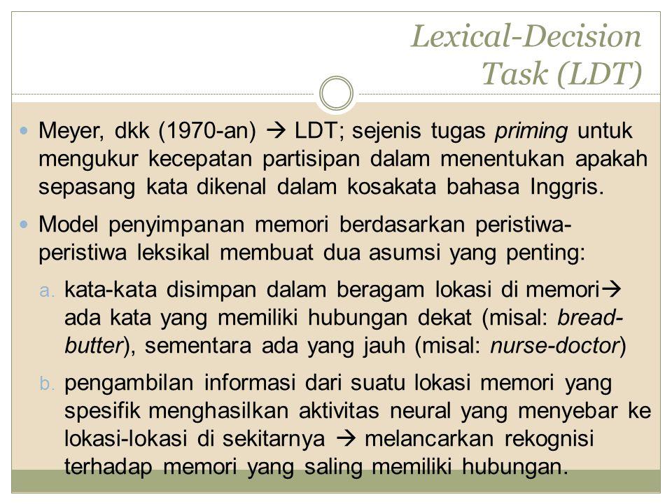 Lexical-Decision Task (LDT) Meyer, dkk (1970-an)  LDT; sejenis tugas priming untuk mengukur kecepatan partisipan dalam menentukan apakah sepasang kat