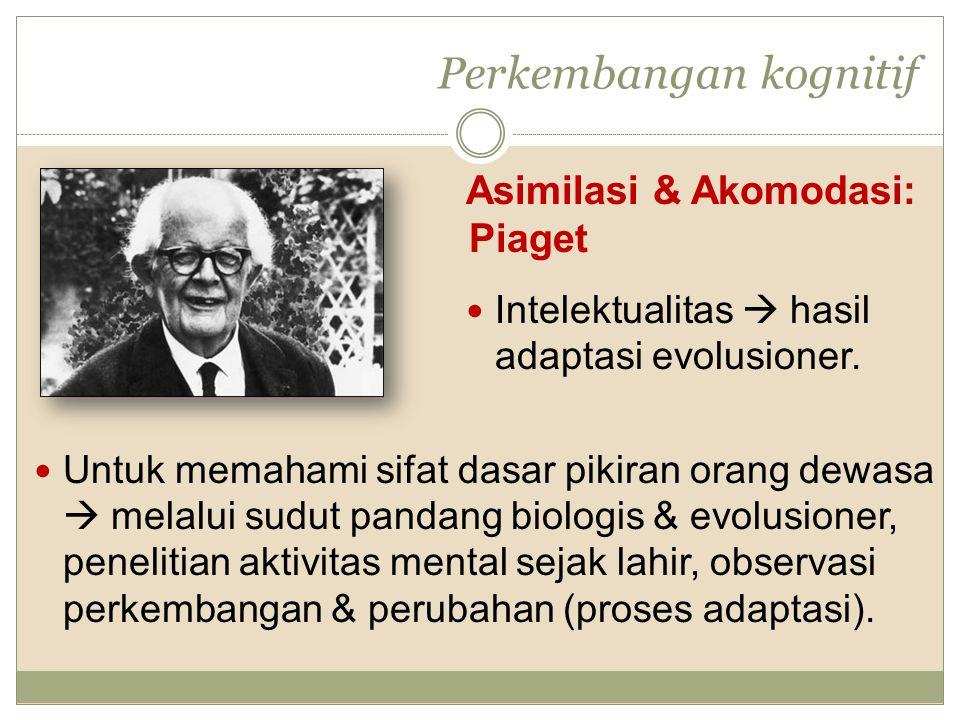 Perkembangan kognitif Asimilasi & Akomodasi: Piaget Intelektualitas  hasil adaptasi evolusioner. Untuk memahami sifat dasar pikiran orang dewasa  me