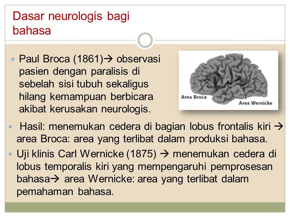 Dasar neurologis bagi bahasa Paul Broca (1861)  observasi pasien dengan paralisis di sebelah sisi tubuh sekaligus hilang kemampuan berbicara akibat k