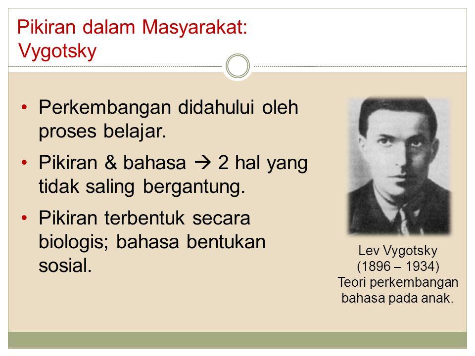 Pikiran dalam Masyarakat: Vygotsky Lev Vygotsky (1896 – 1934) Teori perkembangan bahasa pada anak. Perkembangan didahului oleh proses belajar. Pikiran