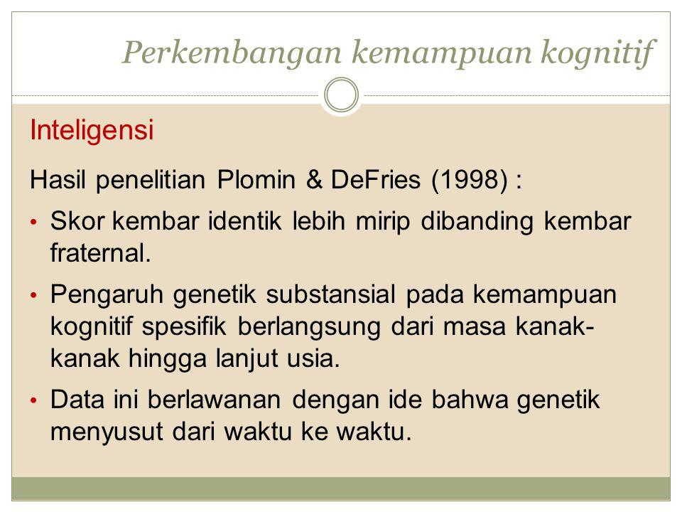 Perkembangan kemampuan kognitif Inteligensi Hasil penelitian Plomin & DeFries (1998) : Skor kembar identik lebih mirip dibanding kembar fraternal. Pen