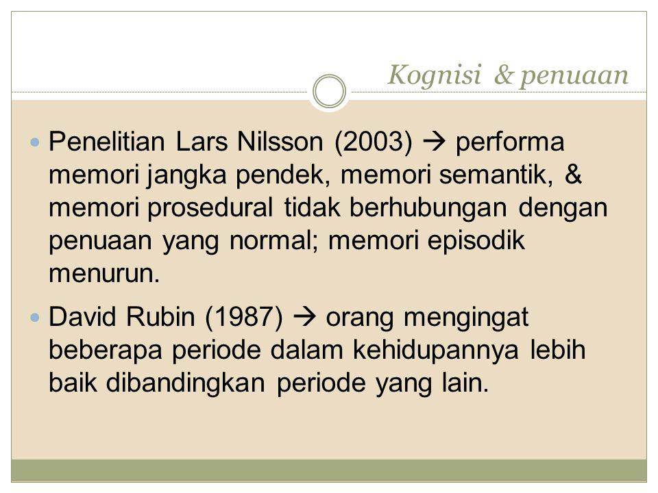 Kognisi & penuaan Penelitian Lars Nilsson (2003)  performa memori jangka pendek, memori semantik, & memori prosedural tidak berhubungan dengan penuaa